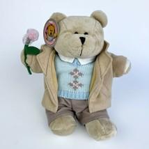 2006 Starbucks Bearista Teddy Bear Plush Camel Coat/ Blue Sweater Stuffe... - $24.75