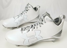 UNDER ARMOUR Fierce Football Cleats 16 White Silver Gray 1269739-103 $100 - $34.80