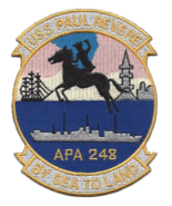 """4.88"""" NAVY USS PAUL REVERE APA-248 BY SEA TO LAND EMBROIDERED PATCH  - $18.04"""