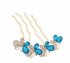 European Style Hair Comb Metal Bowknot Rhinestones Hair Decoration, Blue