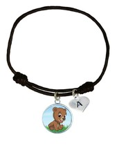 Custom Baby Bear Cub Black Unisex Bracelet Jewelry Gift Choose Initial Charm - $13.94