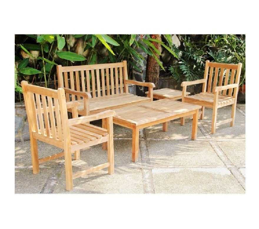 Teak wooden armchair n table n bench