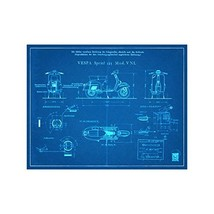 "Vespa Scooter Engineers Diagram - Blueprint Style - Art Print - 18"" tall x 14"" w - $16.00"