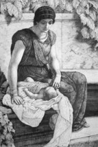 ORIGINAL ETCHING - Young Roman Mother First Born Baby - $16.20