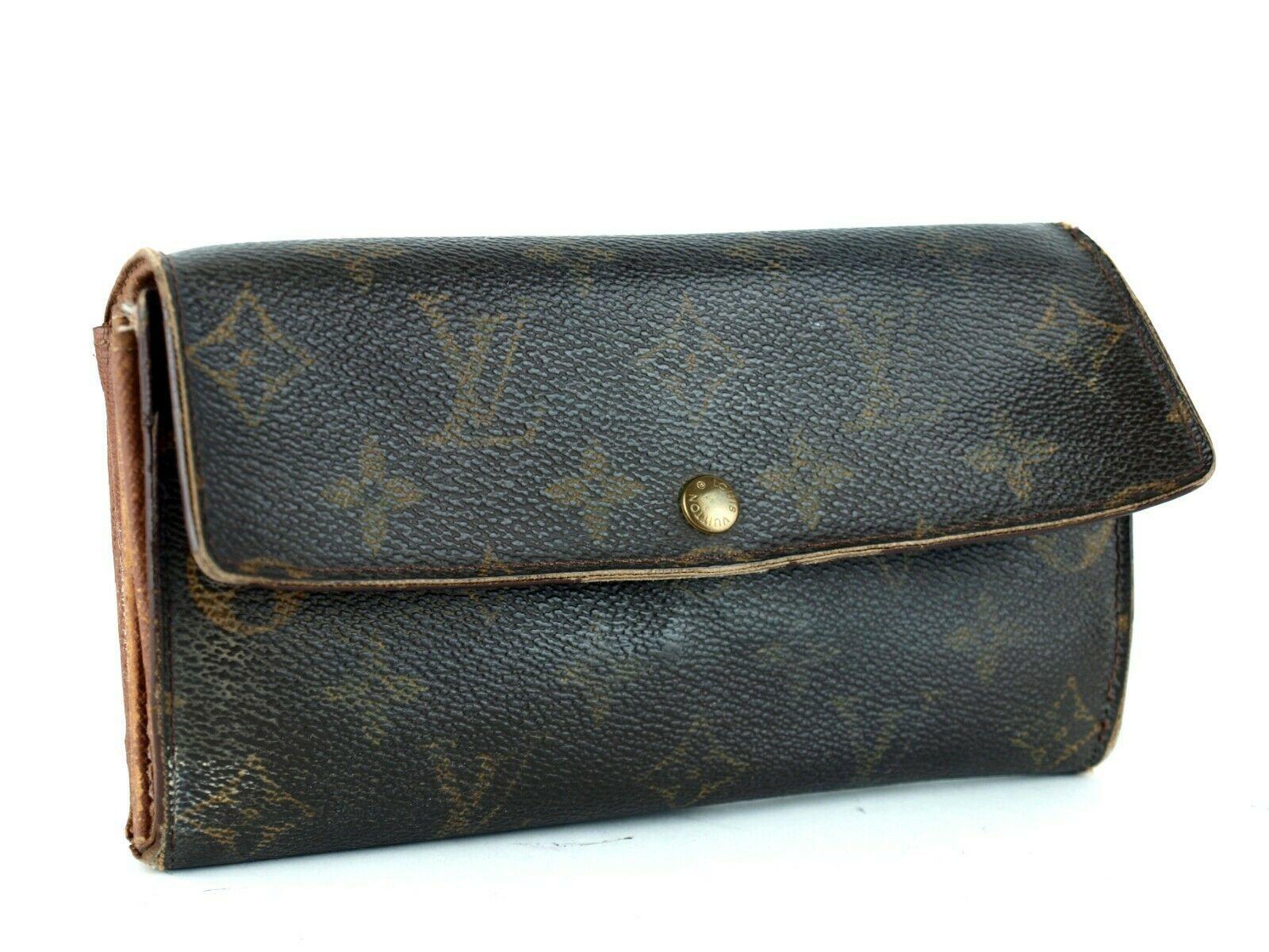 Auth LOUIS VUITTON Monogram Canvas & Leather Bifold Envelope Long Wallet Purse - $98.01