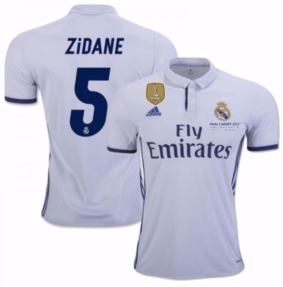 749ae17fc S l1600. S l1600. Previous. ADIDAS ZINEDINE ZIDANE REAL MADRID FIFA PATCH  HOME JERSEY 2016 17 CARDIFF LEGEND