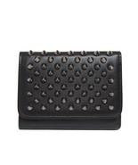 New Christian Louboutin Macaron Black Mini Wallet Leather Spikes - $390.04