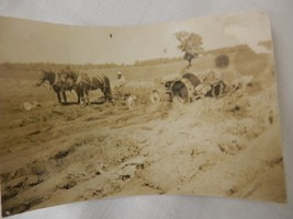 antique black and white photograph horsedrawn plow tractor metal wheels ... - $9.99