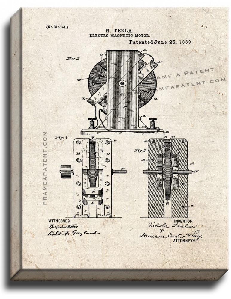 Primary image for Electro-magnetic Motor Patent Print Old Look on Canvas