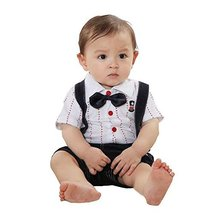 Cute Gentleman Baby Overall A Suit of Skirt And Overall White&Black 2933cm