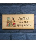 A Cluttered Desk Is A Sign Of Genius Sign, Office Desk Plaque Funny Work... - $12.79