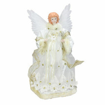 "Kurt Adler 14"" Lighted Gold Animated Porcelain Angel Christmas Tree Topper - $73.00"