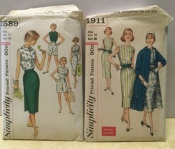 2 Vintage Simplicity Patterns 1911 2589 Miss 16 Skirt Shorts Dress Coat ... - $17.63