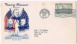1937 Navy Heroes 4c Issue Admirals Sampson Dewey & Schley 793 FDC Grimsland - $7.92
