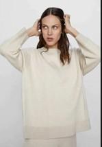 Zara Womens Beige Wool Mohair Sweater Crewneck Boxy M Long Sleeve 1303/1... - $49.49