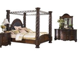 Ashley North Shore 4PC Bedroom Set Cal king Poster Canopy - Brown - $4,500.19
