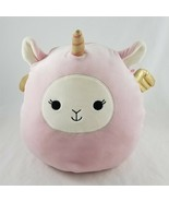 Kellytoy Squishmallows Pink Unicorn Plush Toy Gold Horn Wings 13 Inch - £21.48 GBP