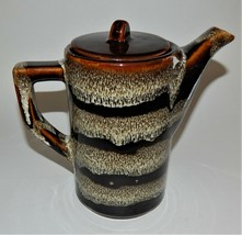 Vintage Brown Drip Glaze Stripe Carafe Coffee Pot Teapot Pottery Unmarke... - $39.59