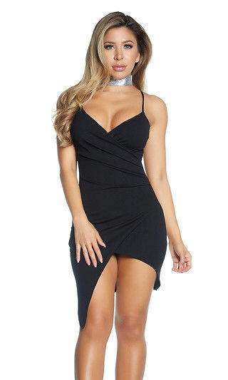 Forplay Heartbreak Wrap Mini Dress 887104 ~ Black or Taupe