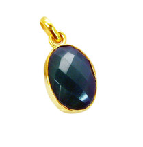 cute Green Onyx Gold Plated Green Pendant genuine gemstones US gift - $9.89