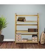 Folding Bookcase Storage Three Shelves Brown Stylish Wood Home Functiona... - $58.99