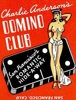 Primary image for 1940's Charlie Anderson's Domino Club - San Francisco - Matchbook Poster