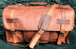 Handmade Brown Leather Unisex Duffle Bag Weekend Travel Gym Luggage Hold... - $52.92
