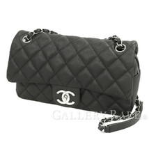 CHANEL Chain Shoulder Bag Caviar Leather Black A67741 Italy Authentic 52... - $2,751.38