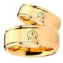 Bride and Groom Star Trek Step Edges Gold Tungsten Carbide Mens Ring Set - $79.98