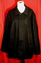 Nautica Men XL Heather Black Car Coat Jacket Wool Blend Hidden Zip Casua... - $46.53