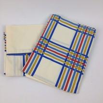 VTG Fieldcrest Pillowcases 2pc Set Pair Rainbow Plaid Line Percale Mod G... - $13.37