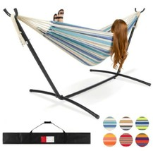 2-Person Brazilian Double Hammock Bed Carrying Bag w/ Stand Outdoor Patio Beach - $111.27