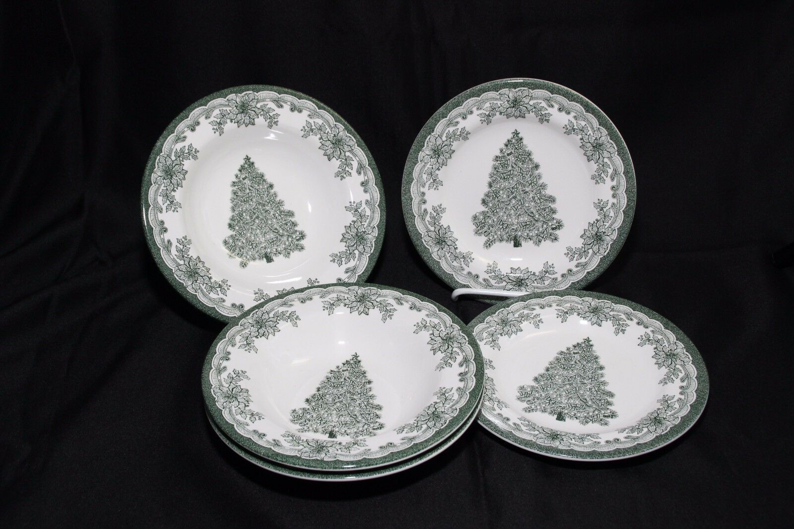 Staffordshire Engravings Yuletide Green Salad Plates and Soup Bowls