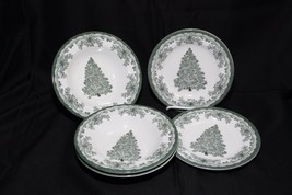 Staffordshire Engravings Yuletide Green Salad Plates and Soup Bowls - $28.91