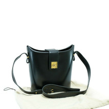 CELINE Leather Shoulder Bag Black Auth ar1136 - $580.00