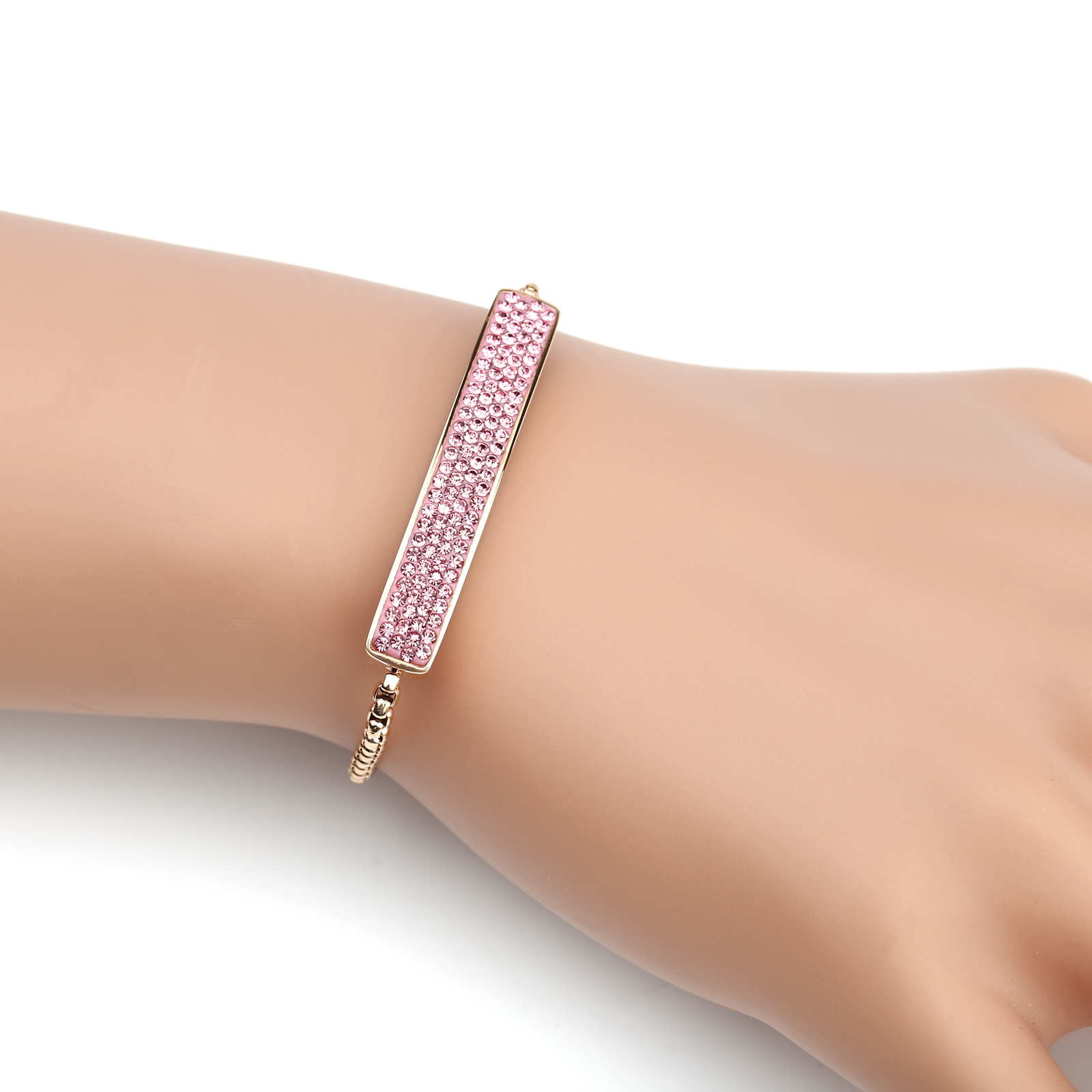 UNITED ELEGANCE Rose Tone Bolo Bar Bracelet With Pink Swarovski Style Crystals
