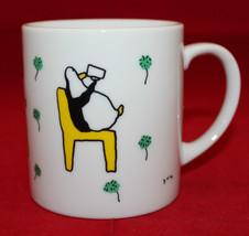 Jun Takabatake Gakken Book Penguins White Coffee Tea Mug Cup Yellow Chai... - $37.93