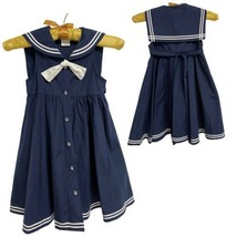 Emma Kate Navy Button Down Dress Girl's 6X (E-1H) - $13.86