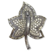 Vintage Crown Trifari  Rhinestone Baguettes Leaf Brooch Pin Pretty Beaut... - $39.59