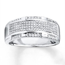 14K White Gold 925 Sterling Silver Round Cut White VVS1 Diamond Mens Rin... - $93.99
