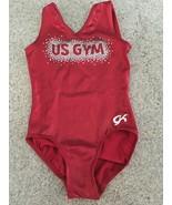 GK Elite Gymnastics Red Metallic Leotard US Gym With Bling ( Size CM) - $48.62