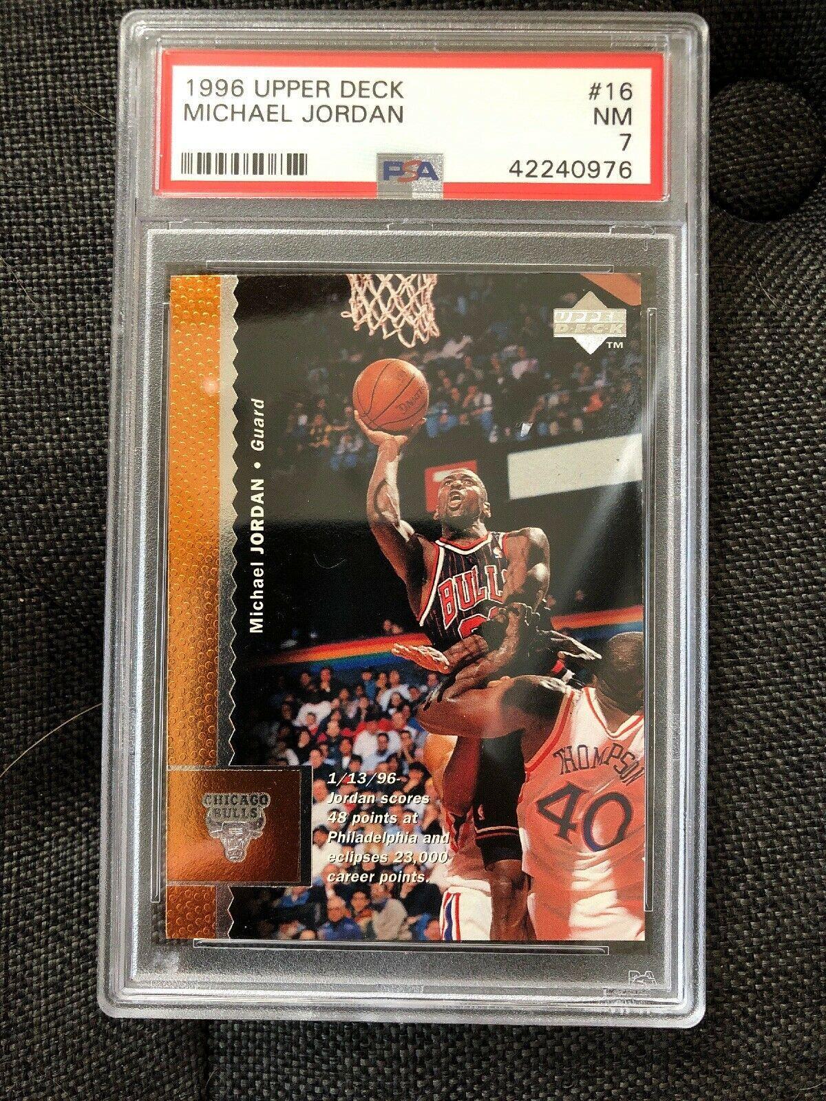 f84a3315b74418 1996 96 Upper Deck MICHAEL JORDAN  16 BULLS PSA 7- Basketball Cards