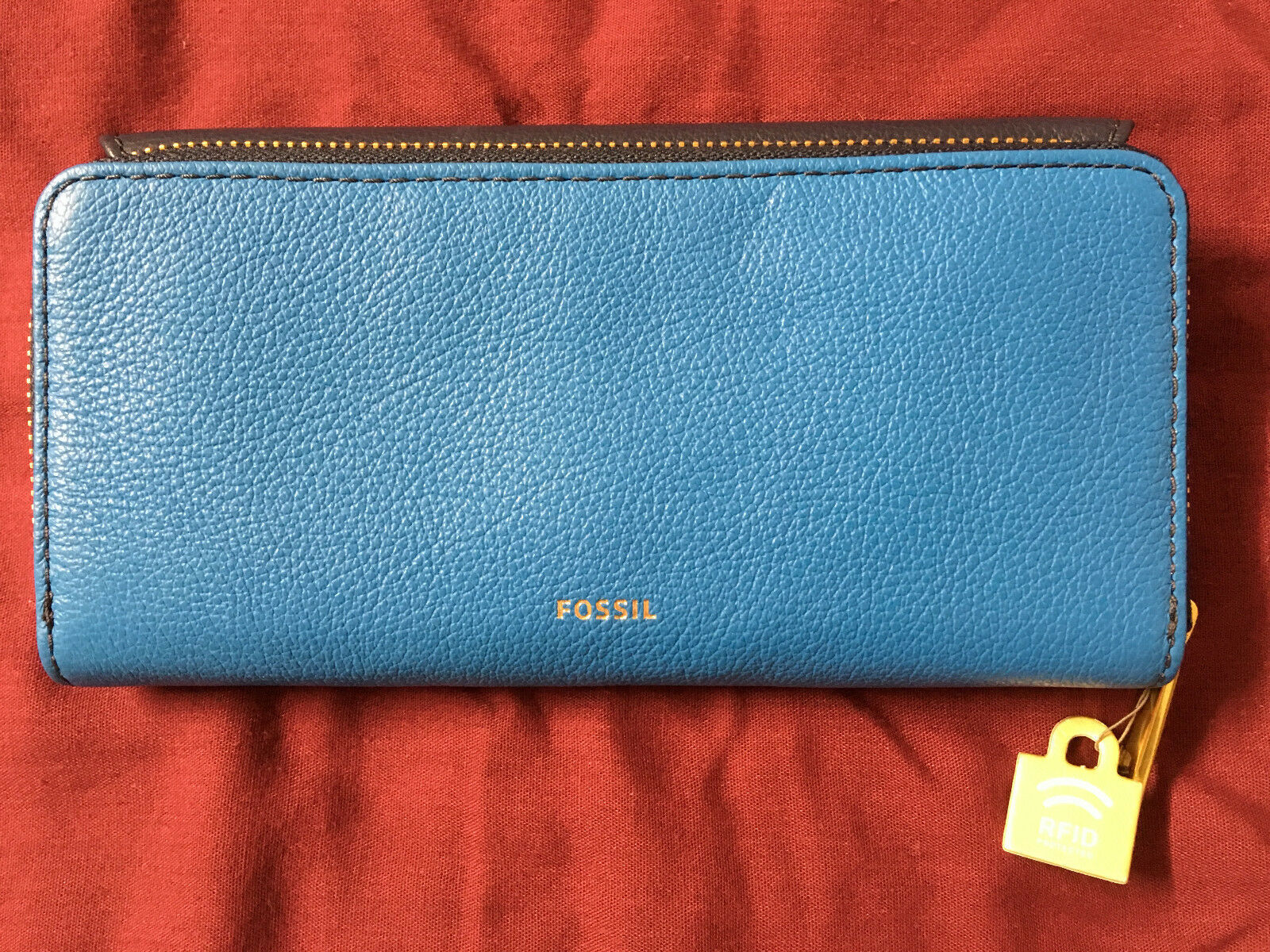 NWT Fossil Jori Blue Navy Leather Wallet Flap Clutch + 25% off your next order*