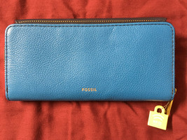 NWT Fossil Jori Blue Navy Leather Wallet Flap Clutch + 25% off your next order* image 1