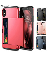 Armor Slide Card Case iPhone X XS MAX XR 7 8 Plus 6 6S Slot Holder Cover Samsung - $6.80 - $12.60