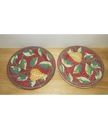 Pier 1 Mosaic Fruit red green pear leaves Salad luncheon 2 plate set lot... - $13.36