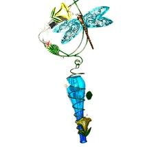 Painted Metal & Glass Blue Dragonfly Garden Hanging Hummingbird Nectar Feeder image 2