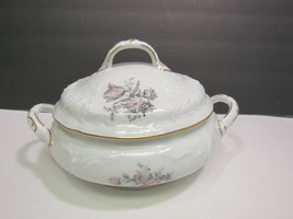 ROSENTHAL china GREY ROSE Sanssouci COVERED VEGETABLE Serving BOWL with LID - $49.50