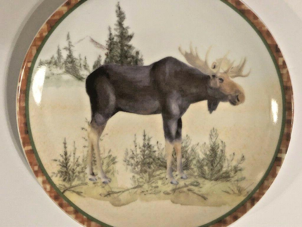 """Moose Ceramic Plates Salad Dessert Lunch Bread Set of 4 Prima Design 8"""" Rustic"""