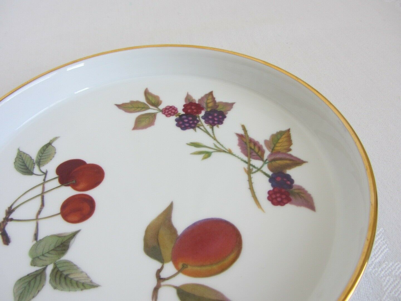 "Royal Worcester Evesham Gold Pie Baker + 7"" Tart Quiche Dish 1961 Fruit Berries"